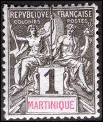 Martinique 1892 1c black on azure fine lightly mounted mint.