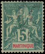 Martinique 1892 5c green on pale green fine used.