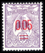 New Caledonia 1922 0.05 on 15c bright lilac fine lightly mounted mint.