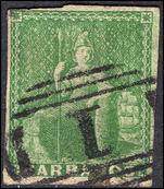 Barbados 1855-58 (½d) green (shades) no watermark 4 margins but with tiny nick on top left.