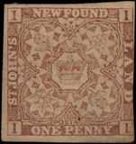 Newfoundland 1862-64 1d chocolate-brown 3 margins unused without gum.