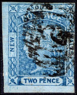 New South Wales 1851-55 2d fine impression dark blue 3 margins fine used.