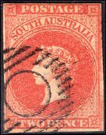 South Australia 1856-58 2d orange-red wmk 2 4 margins fine used.