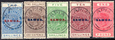 Samoa 1914-24 Postal Fiscal set (less 3s) perf 14½x14 very fine used (10s damaged corner).