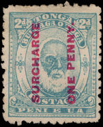 Tonga 1895 1d on 2d pale blue unused without gum.
