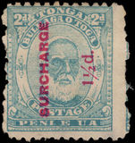 Tonga 1895 1½d on 2d pale blue unused without gum.
