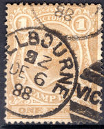 Victoria 1884-96 1d ochre perf 12½ wmk 33 fine used.
