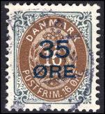 Denmark 1912 35  on 16  brown and slate fine used.