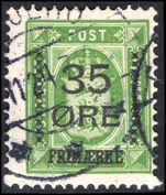 Denmark 1912 35  on 32  green official fine used.