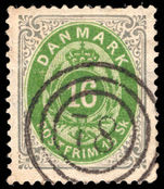 Denmark 1870-74 16sk light green and grey fine used.
