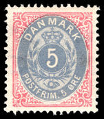 Denmark 1875-1903 5  ultramarine and carmine perf 14x13½ lightly mounted mint.