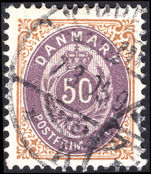 Denmark 1875-1903 50  purple and brown perf 1½ fine used.