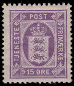 Denmark 1914-23 15  lilac official lightly mounted mint.