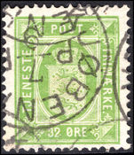 Denmark 1875-1902 32  yellow-green official fine used.