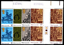 1976 500th Anniv of British Printing gutter and traffic light block of 4 unmounted mint.