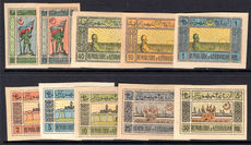 Azerbaijan 1919-20 set imperf, mixed papers, unused without gum.