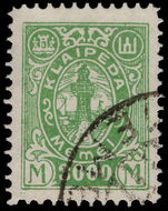 Lithuanian Occupation of Memel 1923 3000s green fine used.