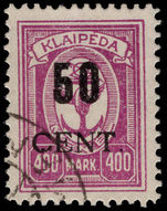 Lithuanian Occupation of Memel 1923 (June) 50c on 400m fine used.
