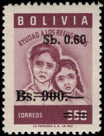 Bolivia 1970 60c on 900b on 350b provisional unmounted mint.