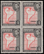 British Guiana 1938-52 4c scarlet and black perf 13x14 block of 4 unmounted mint.