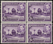 British Guiana 1938-52 $1 bright violet perf 12½ block of 4 unmounted mint.