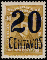 Colombia 1932 20c on 30c bistre lightly mounted mint.