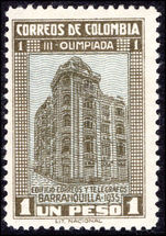 Colombia 1935 1p Olympiad fine lightly mounted mint.