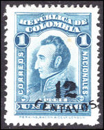 Colombia 1935 12c on 1p sky-blue lightly mounted mint.