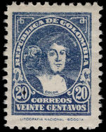 Colombia 1935-44 20c Columbus LIT. NATIONAL perf 10½ lightly mounted mint.