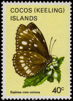 Cocos (Keeling) Islands 1983 40c Butterfly unmounted mint.