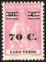 Cape Verde 1931 70c provisional lightly mounted mint.