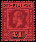 Fiji 1912-23 £1 purple and black on red, die II fine lightly mounted mint.