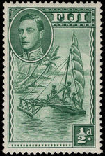 Fiji 1938-55 ½d canoe perf 14 lightly mounted mint.