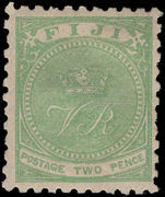 Fiji 1878-99 2d yellow-green perf 10 fine lightly mounted mint.