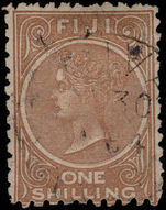 Fiji 1881-99 1s pale brown perf 10, clear watermark fine used.