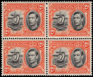 Grenada 1938-50 2d black and orange perf 13½x12½ fine unmounted mint block of 4.