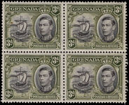 Grenada 1938-50 3d black and olive-green perf 13½x12½ fine unmounted mint block of 4.