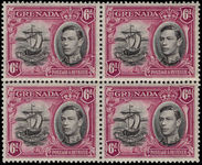 Grenada 1938-50 6d black and purple perf 13½x12½ fine unmounted mint block of 4.