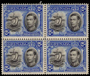 Grenada 1938-50 2s black and ultramarine perf 12½ fine unmounted mint block of 4.