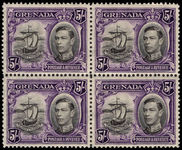 Grenada 1938-50 5s black and violet perf 12½ fine unmounted mint block of 4.