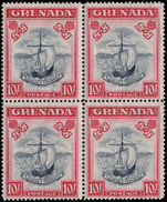 Grenada 1938-50 10s slate-blue and carmine-lake perf 14 wide frame fine unmounted mint block of 4.