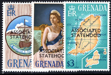 Grenada 1967 Statehood top three values unmounted mint.