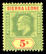 Sierra Leone 1907-12 5s green and red on yellow mounted mint.