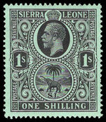 Sierra Leone 1912-21 1s black on green mounted mint.