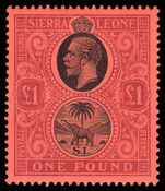 Sierra Leone 1912-21 £1 black and purple on red mounted mint.