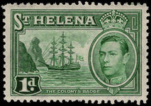 St Helena 1938-44 1d green fine mint lightly hinged.