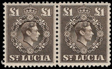 St Lucia 1938-48 £1 sepia pair unmounted mint.