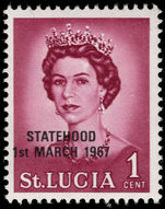 St Lucia 1967 1c black overprint unmounted mint.