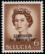 St Lucia 1967 6c black overprint unmounted mint.
