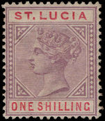 St Lucia 1886-87 1s dull mauve and red, mint hinged, heavily toned gum.